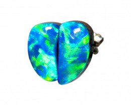 Australian Opal Stud Earrings Silver 4.6ct Gem Doublet Gift D99