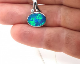 226463 Doublet Opal In Silver Pendant