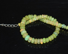 22.25 CT OPAL BRACELET MADE OF NATURAL ETHIOPIAN BEADS STERLING SILVER OBB2