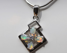 925 ST/ SILVER RHODIUM PLATED CRYSTAL OPAL PENDANT [FP123]