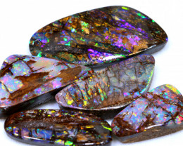 37.20 CTS QUALITY BOULDER OPAL WOOD STAIN GLASS PATTERN PARCEL INV-2176