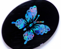8.25 Cts Buterfly Mosaic  Opal & Black jadel Opal stone    CCC 2348