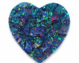 2.6 Cts Opal Hearts Shape Mosaic Opal Doublet   CCC 1820