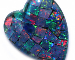 Lovers Heart Shape Mosaic Opal Triplet    CCC 1853