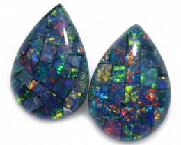 2.5 cts Pair Tear drop  Shape Mosaic Opal Triplets    CCC 1886