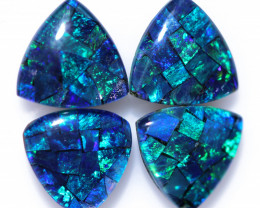 4.3 cts TWO Pair tri drop  Shape Mosaic Opal Triplets    CCC 189