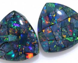 3.9 cts Pair tri drop  Shape Mosaic Opal Triplets    CCC 1904