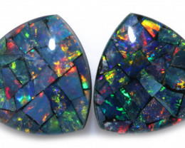 3.9 cts Pair tri drop  Shape Mosaic Opal Triplets    CCC 1906