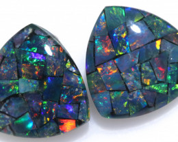 3.9 cts Pair tri drop  Shape Mosaic Opal Triplets    CCC 1915