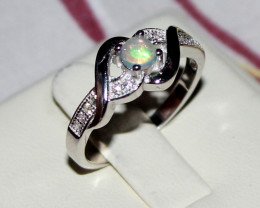 Natural Ethiopian Welo Opal 925 Silver Ring 29