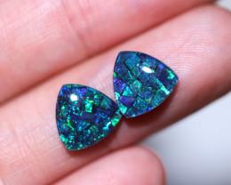2.9 cts Pair Tri drop  Shape Mosaic Opal Triplets    CCC 1926