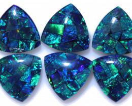 Three  Pair 9mm  Tri drop  Shape Mosaic Opal Triplets    CCC 1938