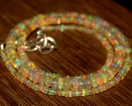 31 Crts Natural Ethiopian Welo Opal Beads Necklace 601