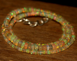 30 Crts Natural Ethiopian Welo Opal Beads Necklace 603
