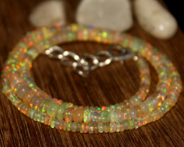32 Crts Natural Ethiopian Welo Opal Beads Necklace 624