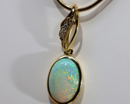 18K GOLD SOLID OPAL PENDENT [FP146]