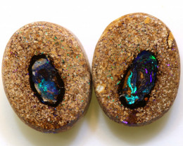 8.35 CTS   BOULDER WOOD FOSSIL OPAL PAIR RO-1124