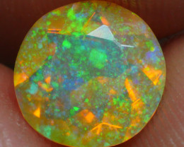 1.00 CRT BRILLIANT ROUND FACETED RIBBON PIN FIRE WELO OPAL-
