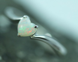 Lovers Heart Opal Fire  Crystal set in Silver 925 Ring   Code CCC2586