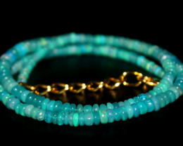31 Crts Natural Ethiopian Welo Blue Opal Beads Necklace 123