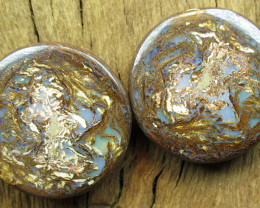 79cts, WOOD FOSSIL OPAL~PAIR.