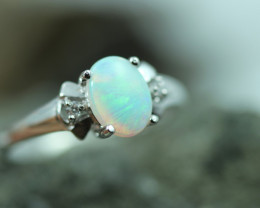 Opal Fire  Crystal set in Silver 925 Ring  Size7  Code CCC2597