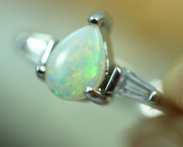 Opal Fire  Crystal set in Silver 925 Ring  Size6 Code CCC2623
