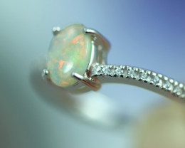 Opal Fire  Crystal set in Silver 925 Ring Size5 Code CCC2637