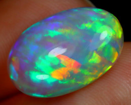 3.20Ct Ribbon Mackerel Pattern Rainbow Rolling Flash Welo Opal D2211
