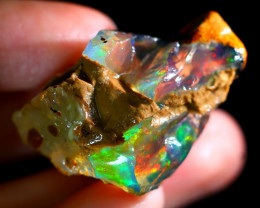 62Ct ContraLuz Rainbow Flash Gamble Delanta Crystal Opal Rough E2308