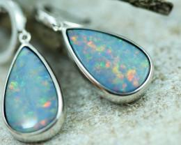 Opal Fire  Doublet set in Silver 925 Earrings   Code CCC2688