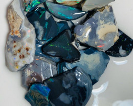 Big Size Black Seam Rough Opals with Multicolour Exposed Bars to Cut