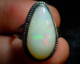 8.2sz Solid Ethiopian Opal High Quality .925 Sterling Fabulous Ring