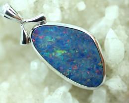 Opal Fire Doublet set in Silver 925 Pendant  Code CCC2705