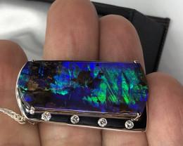 Blue green Boulder pendant custom made in 18ct white gold