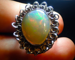 8.5sz Ethiopian Opal .925 Sterling Silver Ring