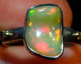 8.2sz Ethiopian Opal .925 Sterling Silver Ring