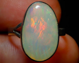 $1 NR Auction 8sz Ethiopian Opal .925 Sterling Silver Ring