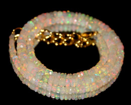 37 Crts Natural Ethiopian Welo Faceted Opal Beads Necklace 198