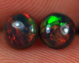 0.62CT 5X5MM Broadflash Fire Pattern Welo Ethiopian Smoked Opal Pair-BO121