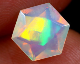 1.36cts Natural Ethiopian Hexagon Faceted Welo Opal /BF6444