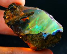 86Ct Flash Fire Gamble Rough Ethiopian Delanta Crystal Opal Rough E2601