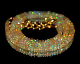 38 Crts Natural Ethiopian Welo Faceted Opal Beads Necklace 199