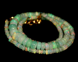 48 Crts Welo Light Green Natural Dyed Opal Beads Necklace 134