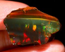 31Ct Flash Fire Gamble Rough Ethiopian Delanta Black Opal Rough E2708