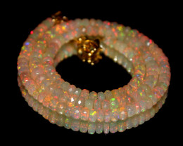 45 Crts Natural Ethiopian Welo Faceted Opal Beads Necklace 218