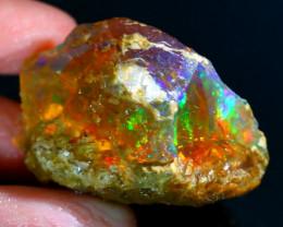 169Ct Flash Fire Gamble Rough Ethiopian Delanta Crystal Opal Rough E2805