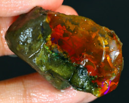 61Ct Flash Fire Gamble Rough Ethiopian Delanta Crystal Opal Rough E0112