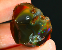 38Ct Flash Fire Gamble Rough Ethiopian Delanta Black Opal Rough E0113
