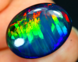 7.55Ct Ribbon Rainbow Neon Flash Ethiopian Welo Black Smoked Opal D0303